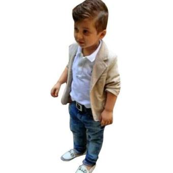 Harga Kids Children Boys Coat + Shirt +Denim Trousers Clothing Set Kids Clothes - intl