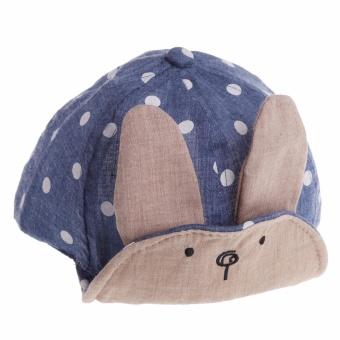 Newborn Baby Girl Boy Visor Baseball Rabbit Ear Dots Cap Beanie Hat- intl - 2