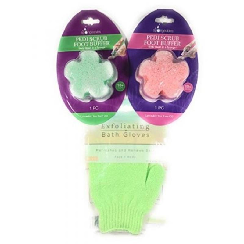 Buy 2 Pedi Scrub Foot Buffers with Exfoliating Bath Gloves - intl Singapore