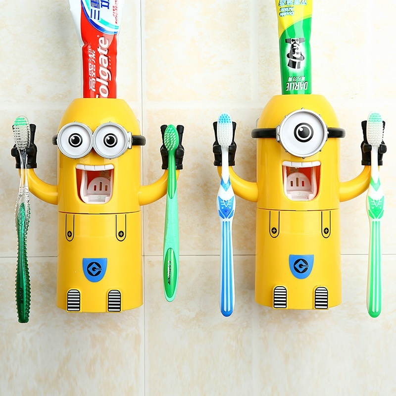 Buy 2017 Automatic Toothpaste Dispenser Creative Cartoon Cute Little Yellow Man Toothbrush Holder Suit Bathroom Supplies (Monocular) - intl Singapore