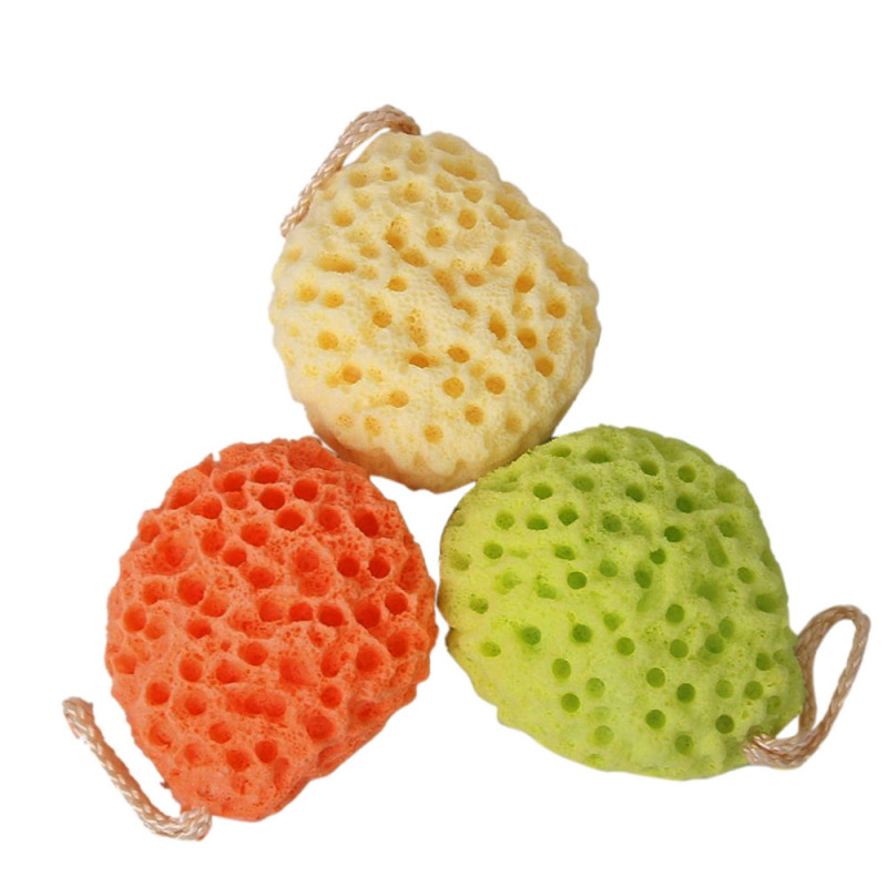 Buy 3 Pcs Soft Sponge Body Bath Shower Spa Exfoliator Face Washing Cleansing Puff Scrubber with Strap Yellow Green Orange-Red Singapore