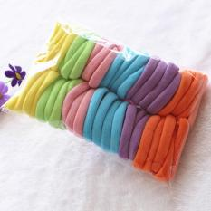 360DSC 50Pcs Colorful Women Cotton High Elastic Seamless Hair Ring Ponytail Holder Accessories - Yellow/