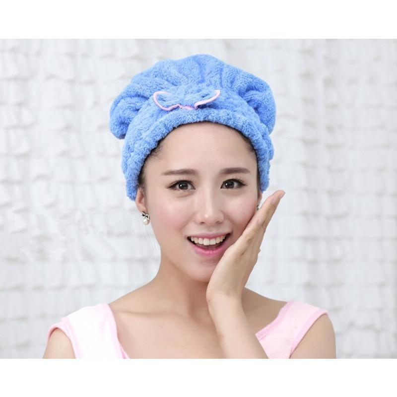 Buy Ai Home Quickly Dry Hair Hat Wrapped Towel Bathing Cap Hair Turban (Blue) Singapore