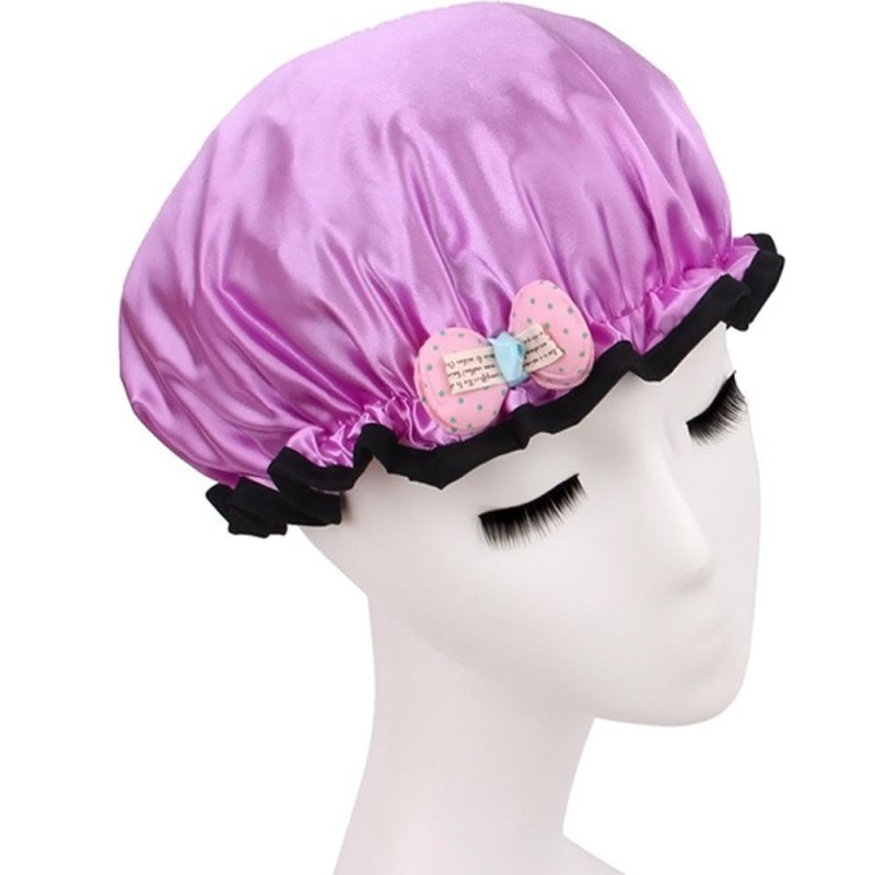Buy Children Girls Satin Waterproof Thicken Double Layers Elastic Band Hair Bath Cap Shower Spa Hat with Bow Purple (Intl) - intl Singapore