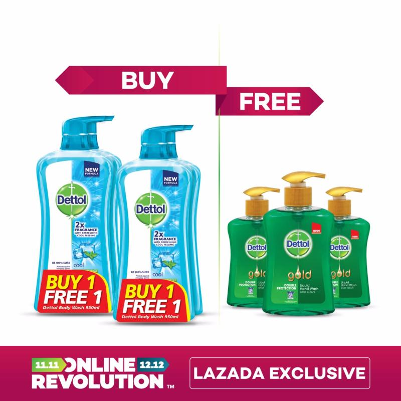 Buy Exclusive Online Revolution: Dettol Anti-Bacterial Shower Gel Cool Twinpack 950ML x 2 BOGOF & x3 Dettol Gold Daily Clean Liquid Hand Wash 200ML Singapore