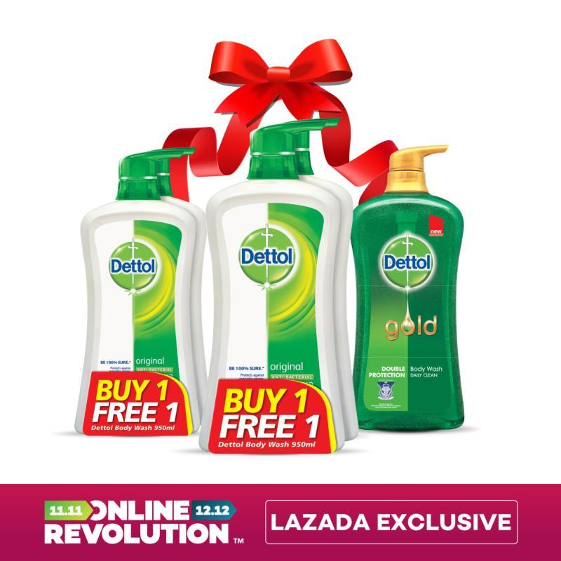 Buy Exclusive Online Revolution: Dettol Anti-Bacterial Shower Gel Original Twinpack 950ML x 2 (Bundle of 2) + FREE Dettol Gold Daily Clean Shower Gel 950ML Singapore