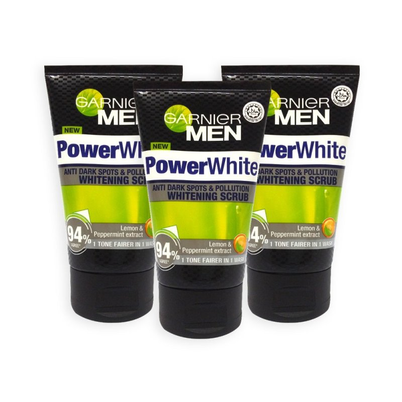 Buy Garnier MEN Facial Scrub - Power White Anti Dark Spot and Pollution Whitening 100ml x 3 Tubes - 6789 Singapore