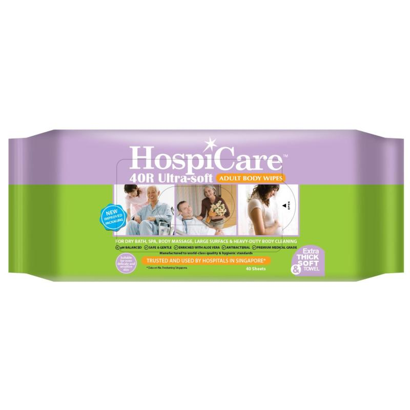 Buy HospiCare 40R Ultra-soft Adult Body Wipes Resealable (15 Packets) Singapore