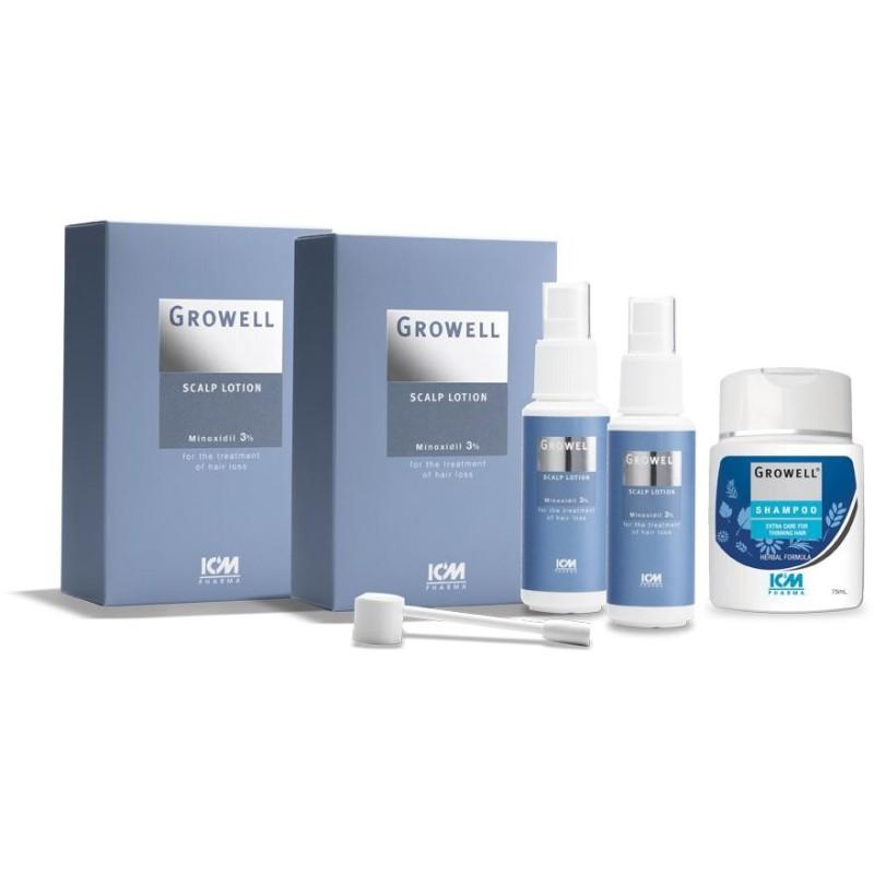 Buy Icm Pharma Growell 3% Scalp Lotion 60Ml Twin Pack + Growell Shampoo 75Ml Singapore