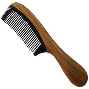 Black Buffalo Horn Hair Wooden Comb with Sandalwood Round Handle Splicing Comb