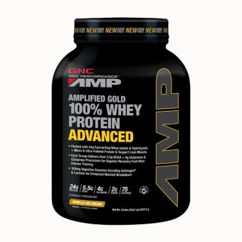 Harga GNC Pro Performance® AMP Gold 100% Whey Protein Advanced 4.9 lbs - Vanilla Ice Cream
