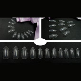 Harga 600pcs Artificial Nail Full Cover Oval Stiletto False Fake Nails(Clear) - intl