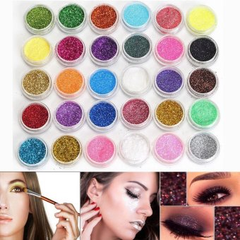 Harga 24 Colours Nail Art Glitter Powder Dust Tips DIY Nails Decoration Tools Set - intl