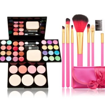 Harga Eye Shadow Makeup Suits + 7 PCS Makeup Brush - intl