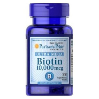 Harga Puritans Pride Ultra Biotin 10000 mcg 100 Tablets Dietary Supplement / Promote Healthy Hair And Strong Nails / Support Cellular Energy Production