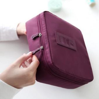 Portable Toiletry Cosmetic Bag Waterproof Makeup Make Up Wash Organizer Storage Pouch Travel Kit Handbag (Wine Red) - intl - 2
