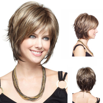Harga La Vie Sexy Wig Brazilian Virgin Straight Short Women Wigs (Gold)