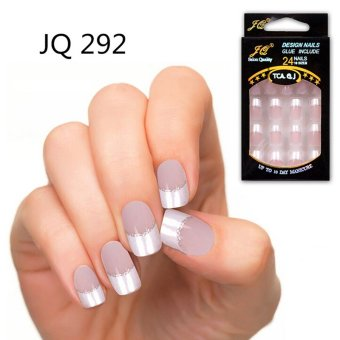 Harga 24pcs False Nails French Fake Nails for Nail Art Design Nail Tips JQ292 - intl