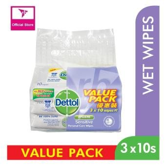 Harga Dettol Anti Bacterial Sensitive Wet Wipes 10S Value Pack