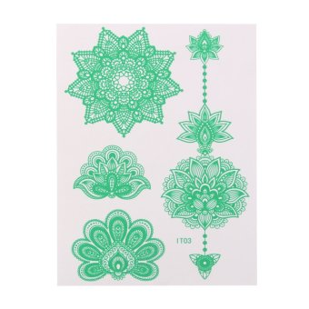 Harga Sheet Glow In Dark Luminous Temporary Tattoo Sticker Art - IT03