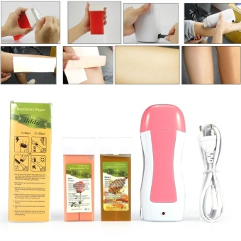 Harga 4 in 1 Depilatory Set Waxing Roller Heater Skin Hair Removal Machine With Wax Paper US Plug - intl