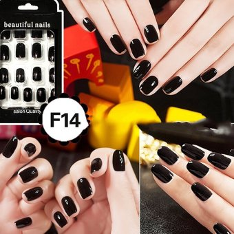 Harga Cheap Fashion Fake Nails False Tips Full Acrylic French Art Designer 24 Pcs Nail Black - intl