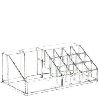 Harga Clear Acrylic Cosmetic Makeup Storage Organizer Box Lipstick Stand Holder Display Rack Make up Brush Eyeshadow Nail Varnish Polish Case Container