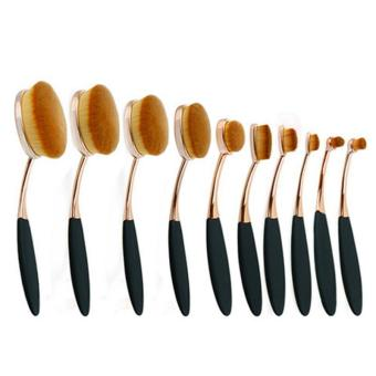 LALANG 10Pcs Toothbrush Oval Makeup Brush Set Powder Foundation Contour Cosmetics Tools for Face Eyes (Rose Gold+Black)