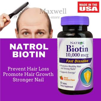 Harga Natrol Biotin 10,000 mcg Natural Strawberry Flavor 60 Tablets Fast Dissolve/ Hair Growth Vitamin
