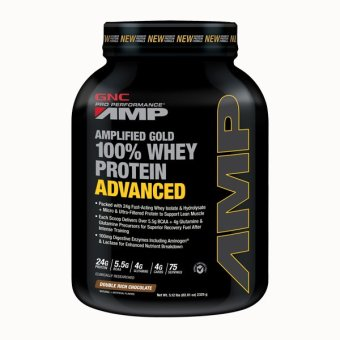 Harga GNC Pro Performance ® AMP Gold 100% Whey Protein Advanced - Double Rich Chocolate 5.12 lbs