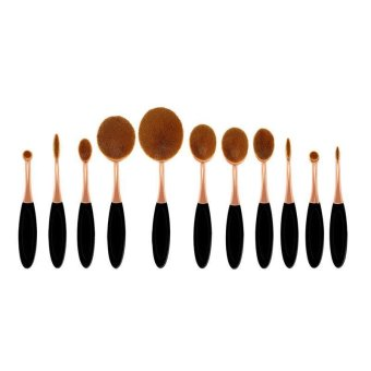 11pcs Make Up Oval Brush Set Toothbrush Shaped Foundation Power Facial Makeup Brushes Tools - intl