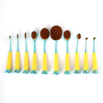 10pcs Fashion beauty Makeup Brush yellow Toothbrush Oval Set cosmetic Tool - intl