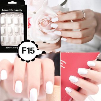 Harga Cheap Fashion Fake Nails False Tips Full Acrylic French Art Designer 24 Pcs Nail White - intl