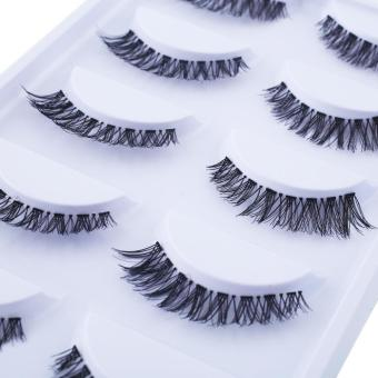 Harga New Soft Fashion Long Thick Cross 5 Pairs Beauty False Eyelashes Beauty - intl