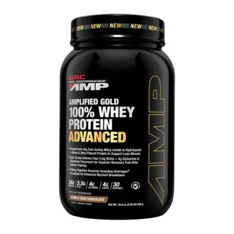 Harga Pro Performance® AMP Amplified Gold 100% Whey Protein Advanced 2.05 lbs - Double Rich Chocolate