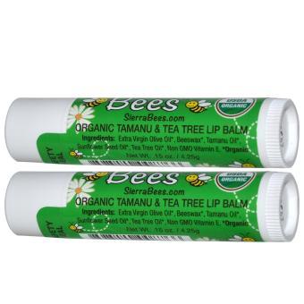 Sierra Bees, Organic Lip Balms, Tamanu & Tea Tree, 2 Pack - 2