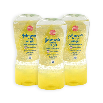 Harga Johnsons Baby Oil Gel - Camomile (10 times Moisture) 192ml x 3 Bottles - 1694