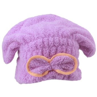Harga Hang-Qiao Quickly Dry Hair Hat Hair Turban Wrapped Towel Bathing Cap (Purple)