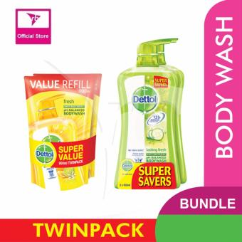 Harga Dettol Body Wash Fresh Twin Pack 950ML & Dettol Body Wash Pouch Fresh 900ML Twin Pack