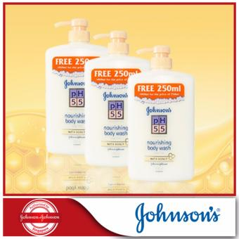 Harga Johnson's pH5.5 Nourishing Body Wash With Honey 750+250ml x 3