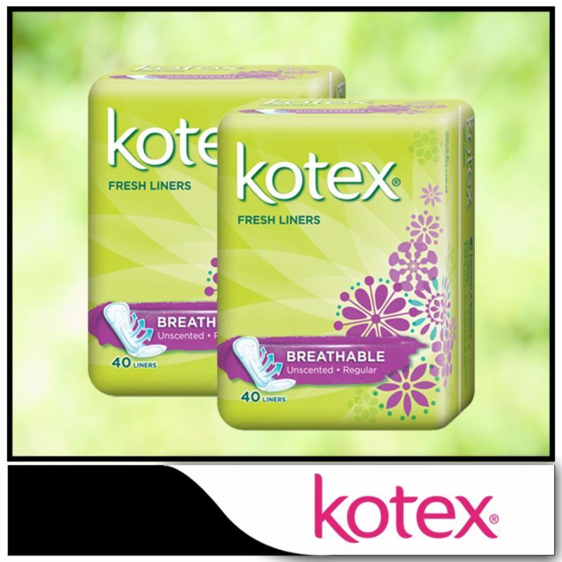 Buy Kotex Fresh Liners Breathable Regular Unscented 40pcs x 2 packs Singapore