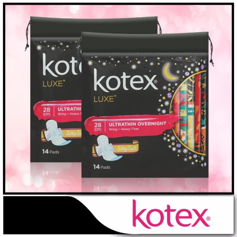 Buy Kotex Pads Luxe Ultra Thin Wing Overnight 28cm 14pcs x 2 packs Singapore