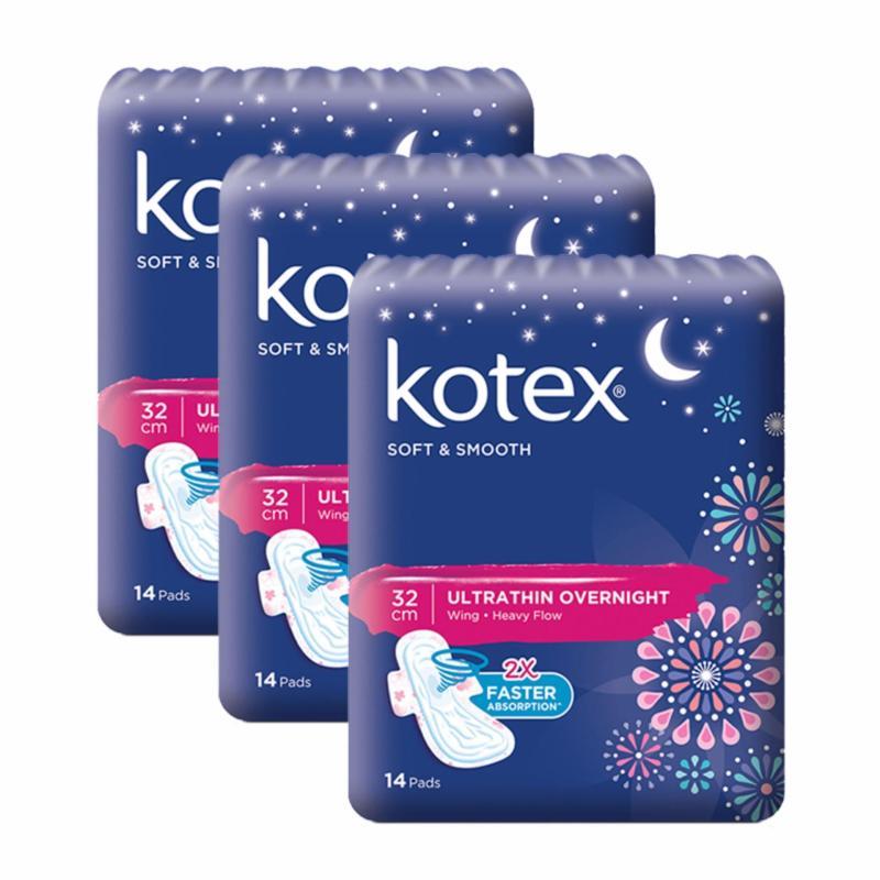 Buy Kotex Pads Soft & Smooth Ultrathin Overnight 32cm 14 pcs x 3 packs Singapore