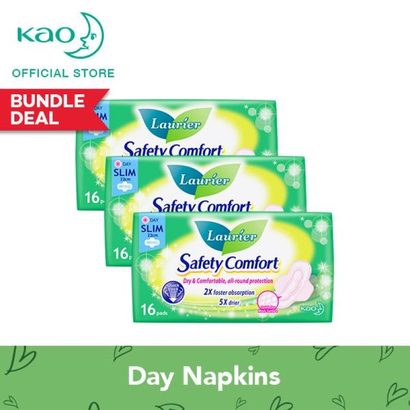 Buy Laurier Safety Comfort Day Slim Wings 22cm 16pcs Triple Pack Singapore