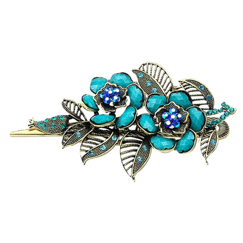 Buy Leegoal Charm Rose Flowers Alligator Hair Clips,Antique ,BronzeLight Blue - intl Singapore