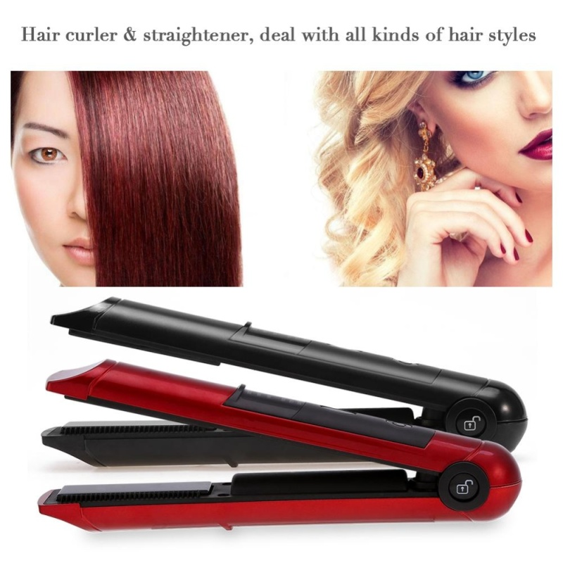 Buy Mini Rechargeable Cordless Hair Curler Straightener Hair Ironing Flat Irons (Black) - intl Singapore