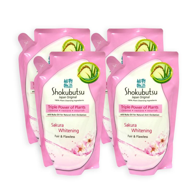 Buy Shokubutsu Sakura Whitening Fair and Flawless Body Foam Refill 550g x 4 Packs - 8510 Singapore