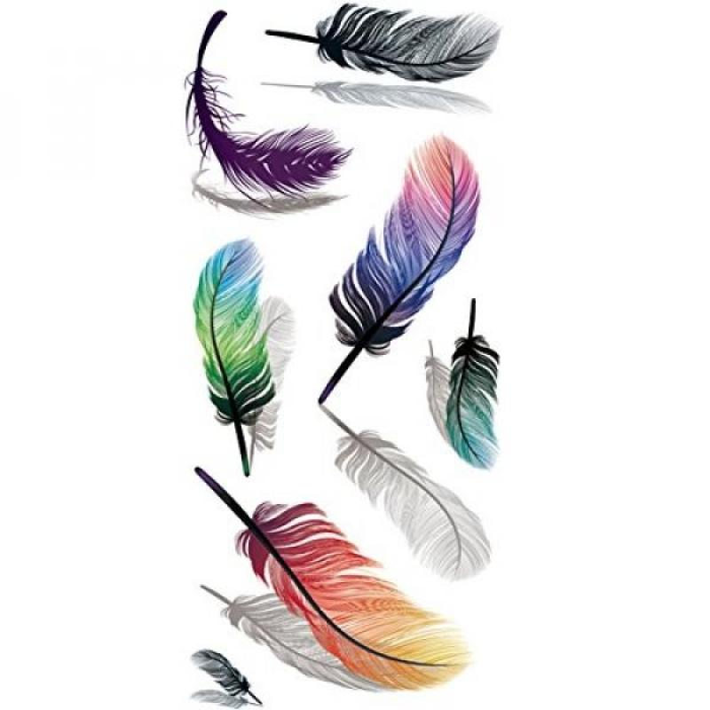 Buy TAFLY 5Sheets Waterproof Fake Tattoo Stickers 3D Colorful Feathers Water Transfer Temporary Tattoo Singapore