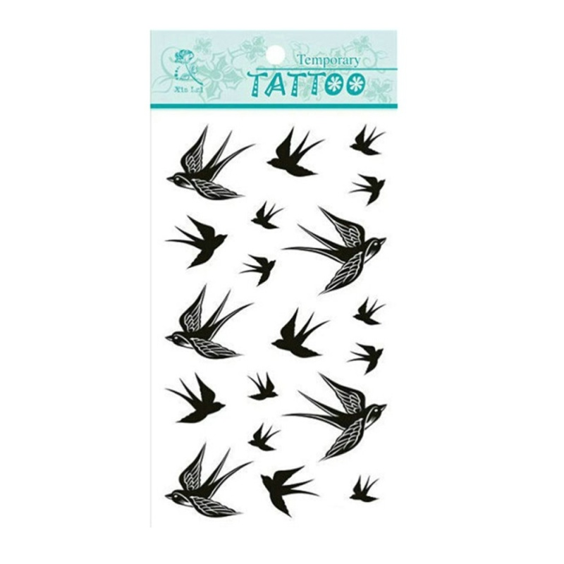 Buy Temporary Tattoo Stickers Swallow Bird Flash Waterproof 2pcs - intl Singapore