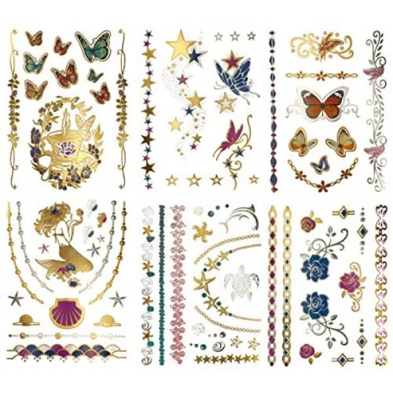 Buy Temporary Tattoos for Kids and Adults - 75+ Metallic Shimmer Fairy Costume DIY Halloween Mermaid Fake Jewelry Tattoos in Colors - Butterflies, Roses, Stars, Fairies (Bella Collection) Singapore